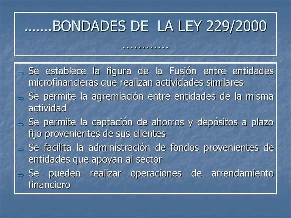 …….BONDADES DE LA LEY 229/2000 ………… Se establece la figura de la Fusión entre entidades microfinancieras que realizan actividades similares Se estable