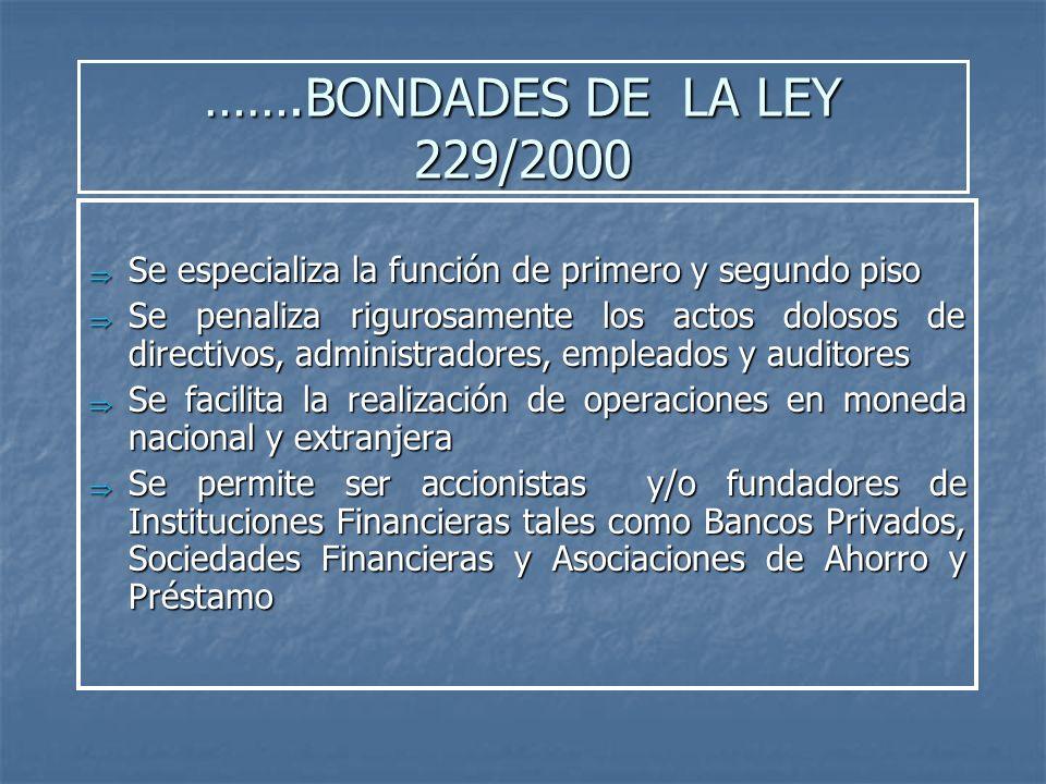 …….BONDADES DE LA LEY 229/2000 Se especializa la función de primero y segundo piso Se especializa la función de primero y segundo piso Se penaliza rig