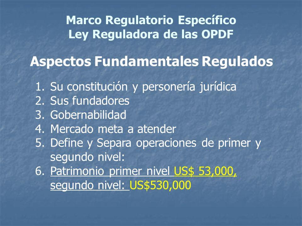Marco Regulatorio Específico Ley Reguladora de las OPDF Aspectos Fundamentales Regulados 1.Su constitución y personería jurídica 2.Sus fundadores 3.Go