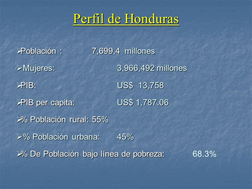 Perfil de Honduras Población : 7,699,4 millones Población : 7,699,4 millones Mujeres:3,966,492 millones Mujeres:3,966,492 millones PIB:US$ 13,758 PIB: