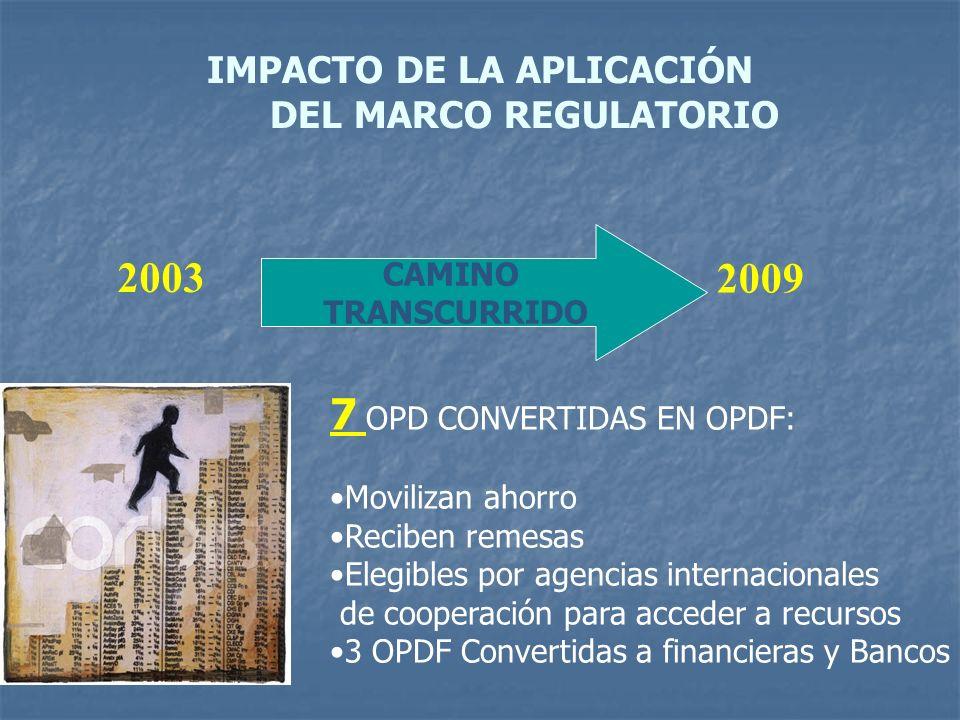 IMPACTO DE LA APLICACIÓN DEL MARCO REGULATORIO 2003 CAMINO TRANSCURRIDO 2009 7 OPD CONVERTIDAS EN OPDF: Movilizan ahorro Reciben remesas Elegibles por