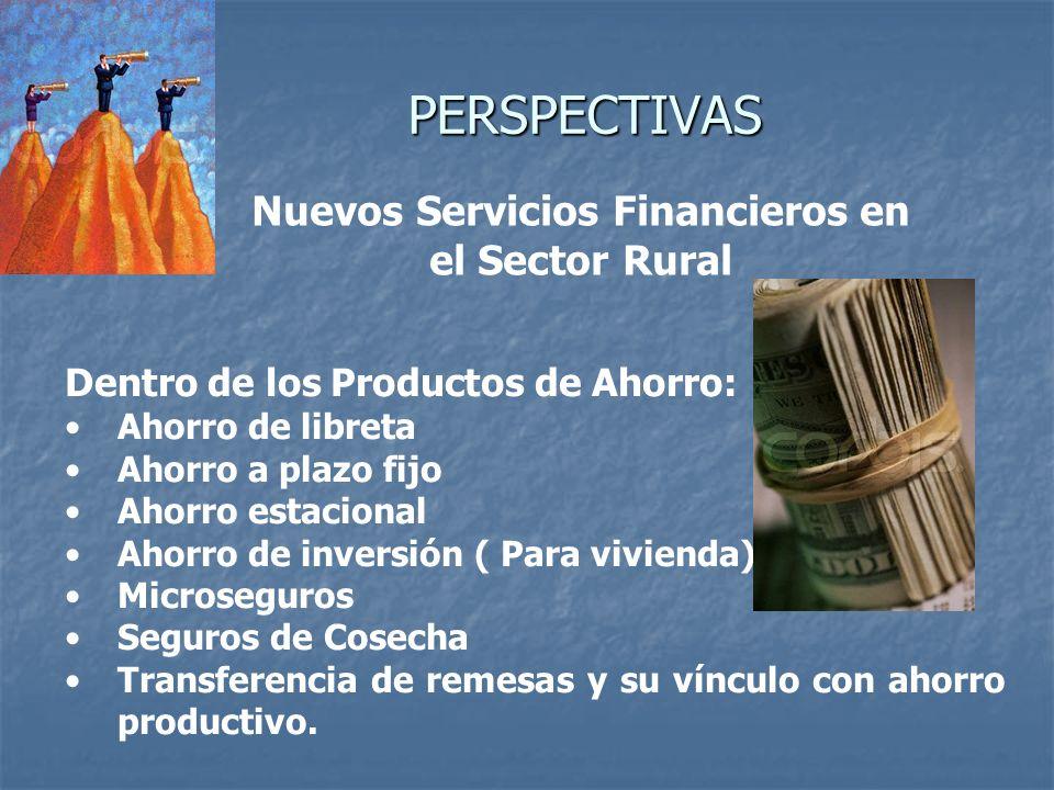 PERSPECTIVAS Nuevos Servicios Financieros en el Sector Rural Dentro de los Productos de Ahorro: Ahorro de libreta Ahorro a plazo fijo Ahorro estaciona