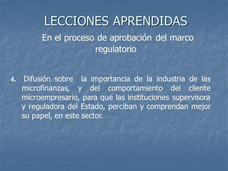 LECCIONES APRENDIDAS LECCIONES APRENDIDAS En el proceso de aprobación del marco regulatorio 4. Difusión sobre la importancia de la industria de las mi
