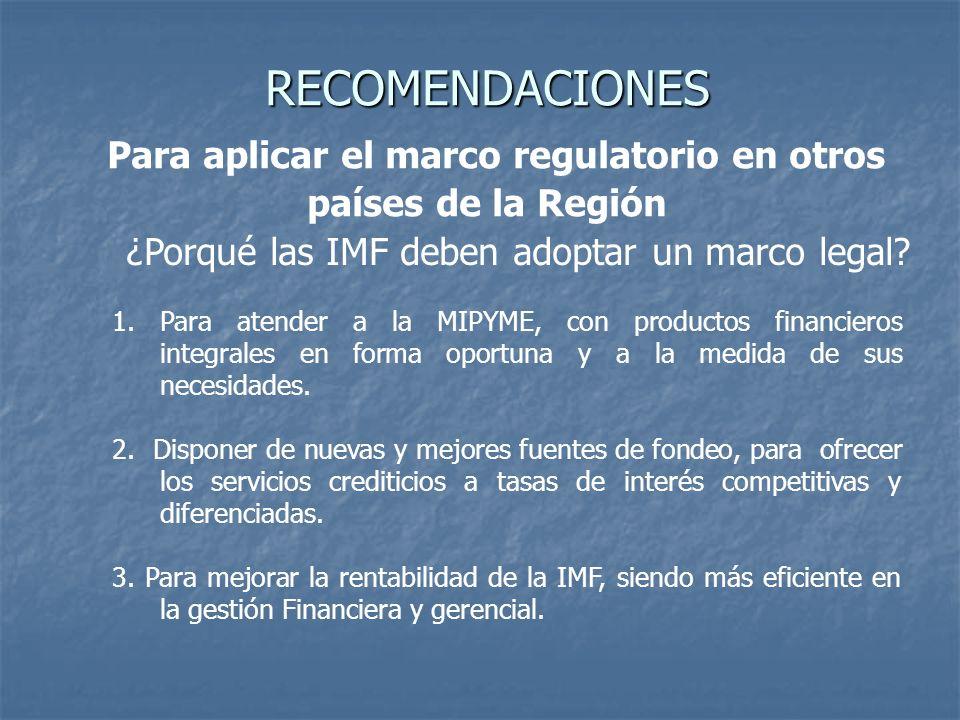 RECOMENDACIONES RECOMENDACIONES Para aplicar el marco regulatorio en otros países de la Región ¿Porqué las IMF deben adoptar un marco legal? 1.Para at