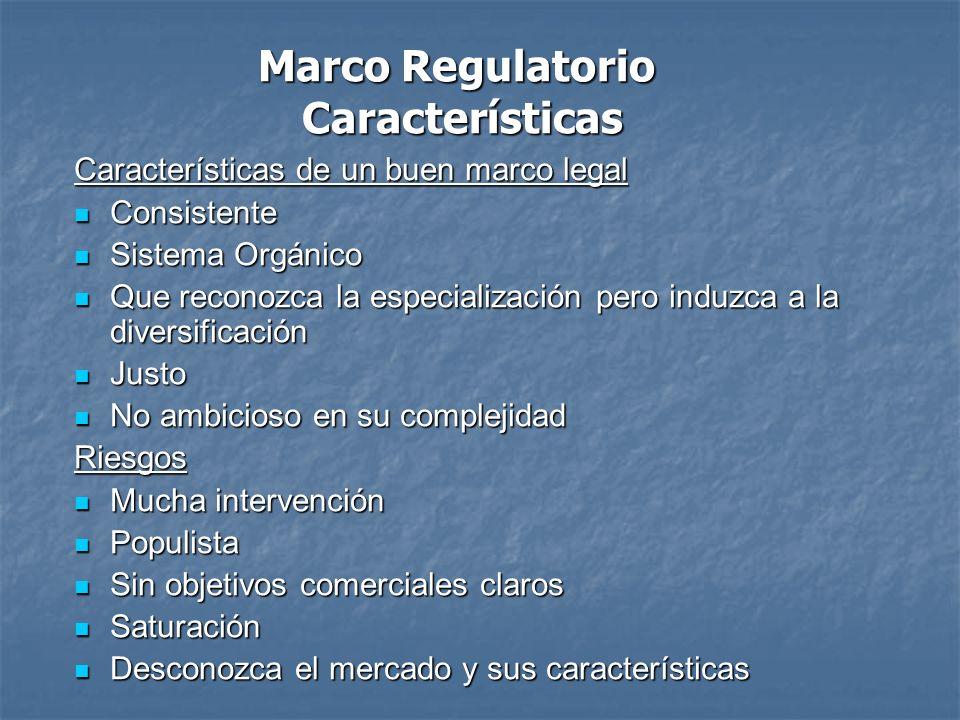 Marco Regulatorio Características Características de un buen marco legal Consistente Consistente Sistema Orgánico Sistema Orgánico Que reconozca la es