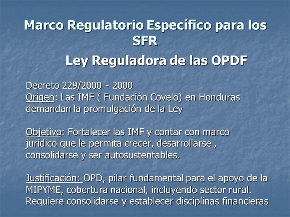 Marco Regulatorio Específico para los SFR Ley Reguladora de las OPDF Decreto 229/2000 - 2000 Origen: Las IMF ( Fundación Covelo) en Honduras demandan