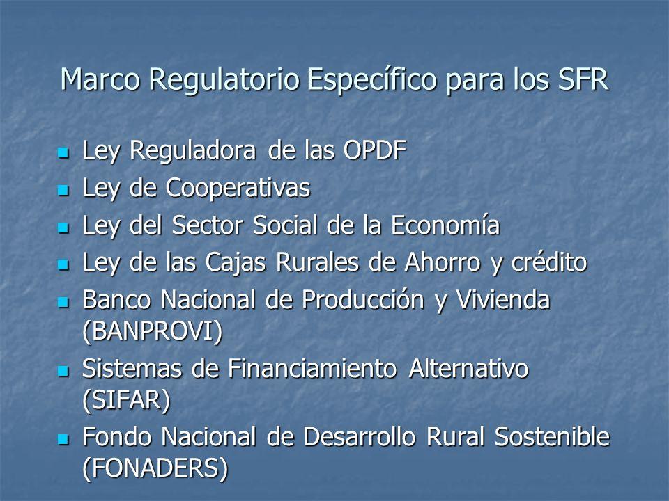 Marco Regulatorio Específico para los SFR Ley Reguladora de las OPDF Ley Reguladora de las OPDF Ley de Cooperativas Ley de Cooperativas Ley del Sector