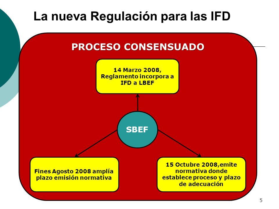 PROCESO CONSENSUADO La nueva Regulación para las IFD 5 SBEF 14 Marzo 2008, Reglamento incorpora a IFD a LBEF Fines Agosto 2008 amplía plazo emisión no