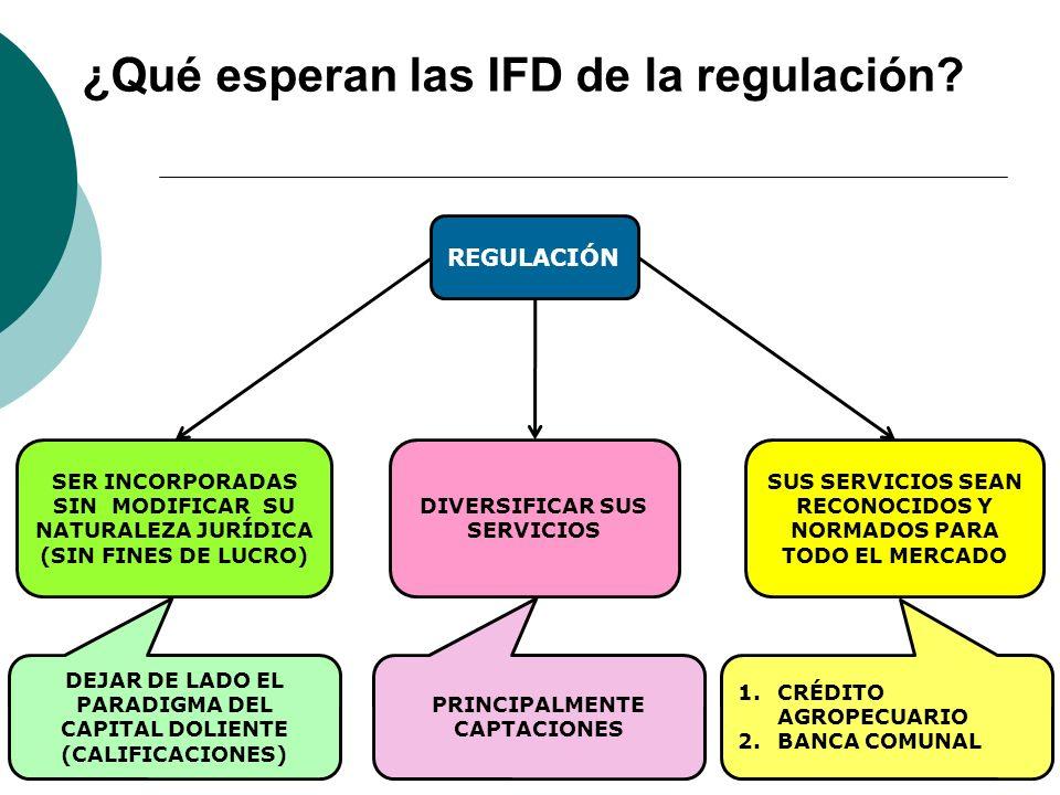 ¿Qué esperan las IFD de la regulación? 7 REGULACIÓN SER INCORPORADAS SIN MODIFICAR SU NATURALEZA JURÍDICA (SIN FINES DE LUCRO) SUS SERVICIOS SEAN RECO