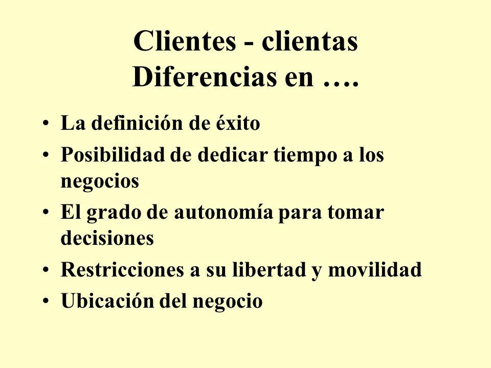 Clientes - clientas Diferencias en …. La definición de éxito Posibilidad de dedicar tiempo a los negocios El grado de autonomía para tomar decisiones