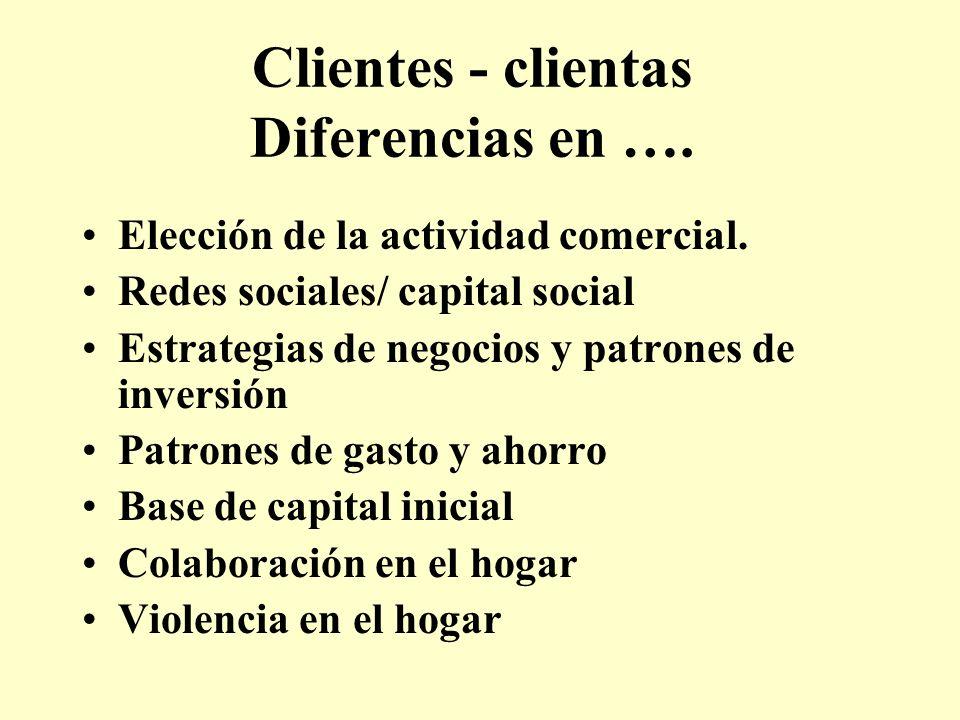 Clientes - clientas Diferencias en …. Elección de la actividad comercial. Redes sociales/ capital social Estrategias de negocios y patrones de inversi