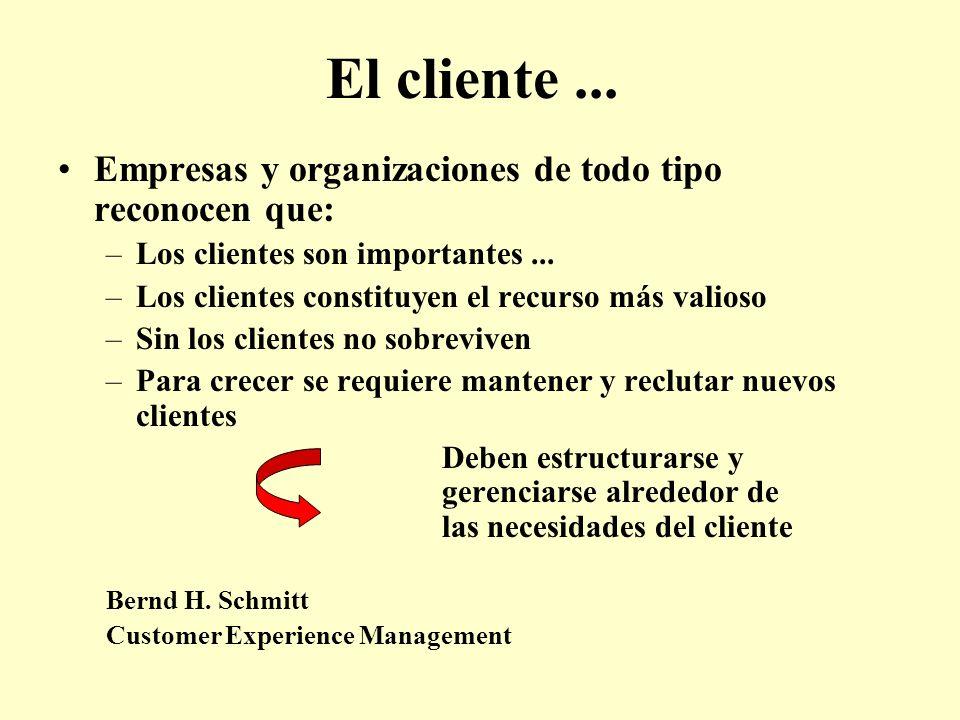 El cliente... Empresas y organizaciones de todo tipo reconocen que: –Los clientes son importantes... –Los clientes constituyen el recurso más valioso