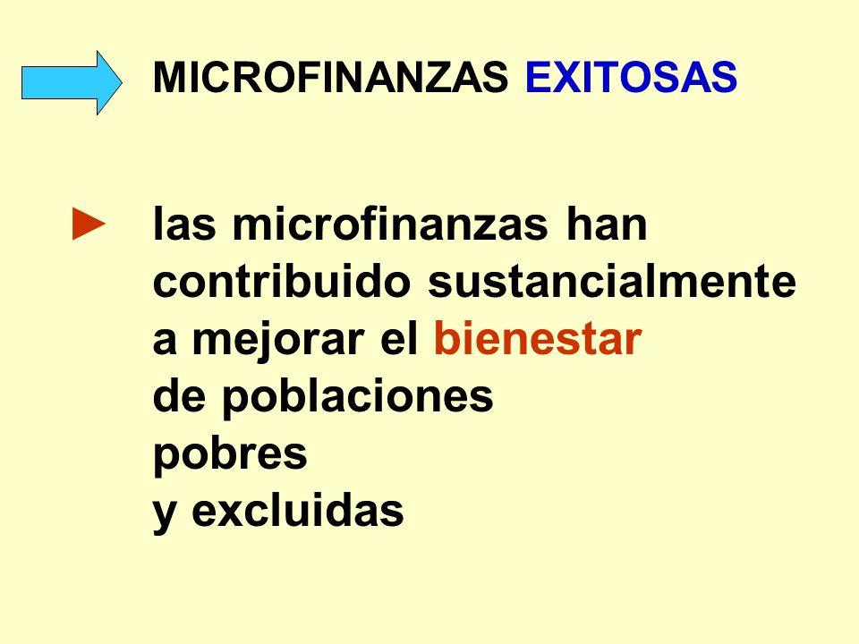 MICROFINANZAS EXITOSAS las microfinanzas han contribuido sustancialmente a mejorar el bienestar de poblaciones pobres y excluidas
