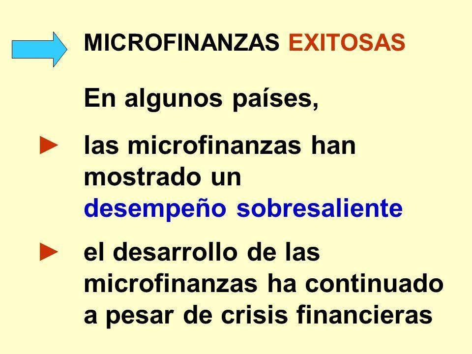 MICROFINANZAS EXITOSAS En algunos países, las microfinanzas han mostrado un desempeño sobresaliente el desarrollo de las microfinanzas ha continuado a