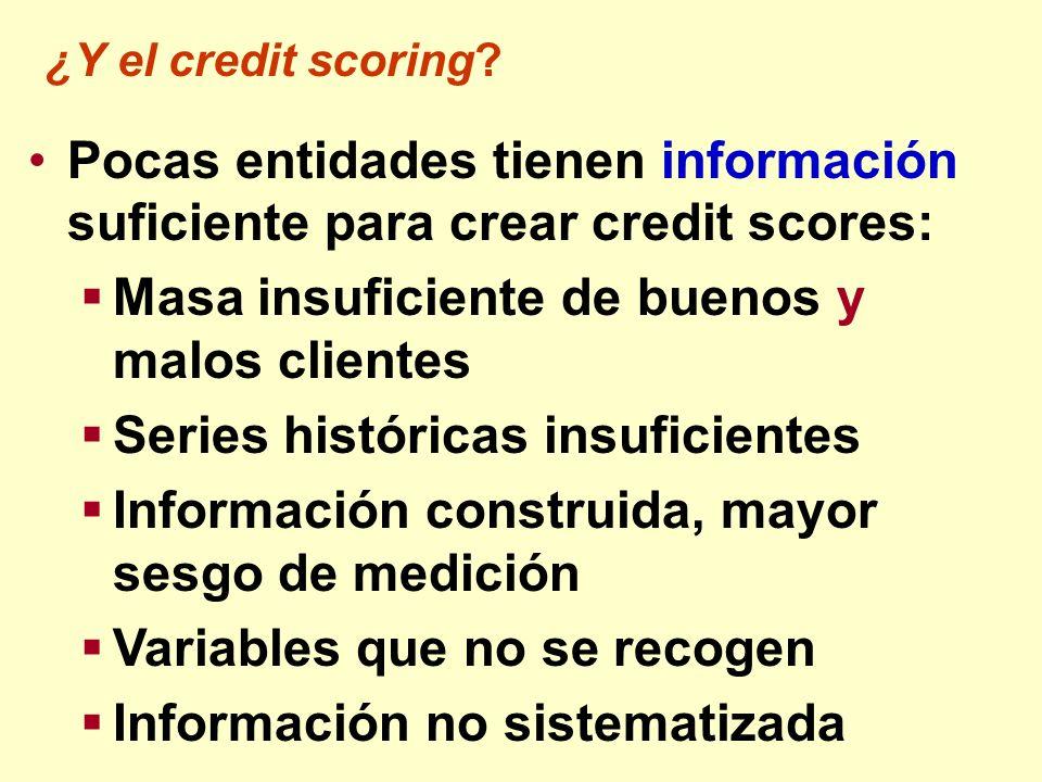 Pocas entidades tienen información suficiente para crear credit scores: Masa insuficiente de buenos y malos clientes Series históricas insuficientes I