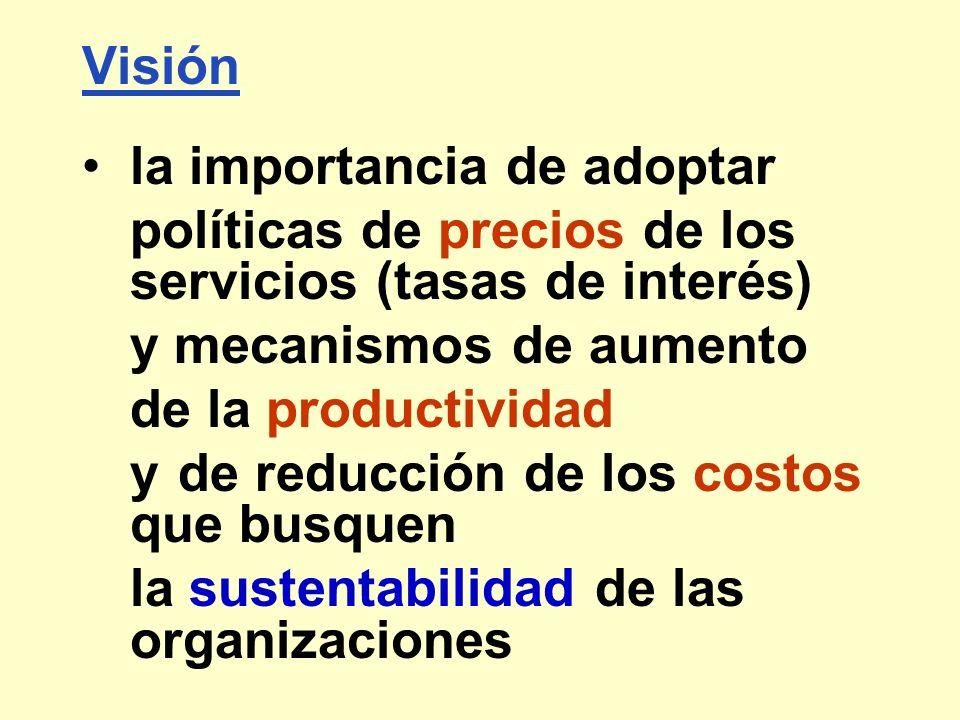 Visión la importancia de adoptar políticas de precios de los servicios (tasas de interés) y mecanismos de aumento de la productividad y de reducción d