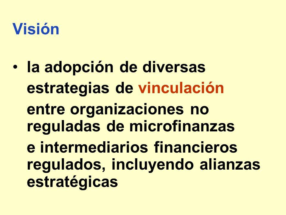 Visión la adopción de diversas estrategias de vinculación entre organizaciones no reguladas de microfinanzas e intermediarios financieros regulados, i
