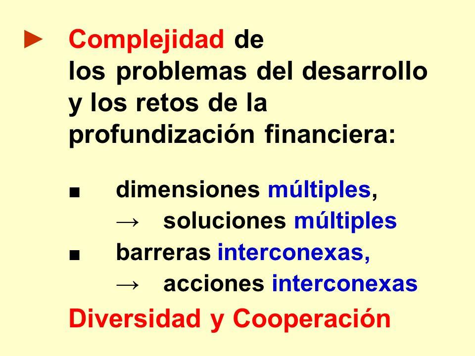 Complejidad de los problemas del desarrollo y los retos de la profundización financiera: dimensiones múltiples, soluciones múltiples barreras intercon