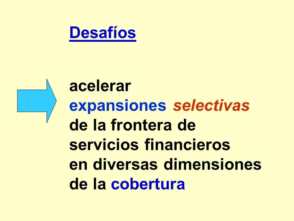 Desafíos acelerar expansiones selectivas de la frontera de servicios financieros en diversas dimensiones de la cobertura