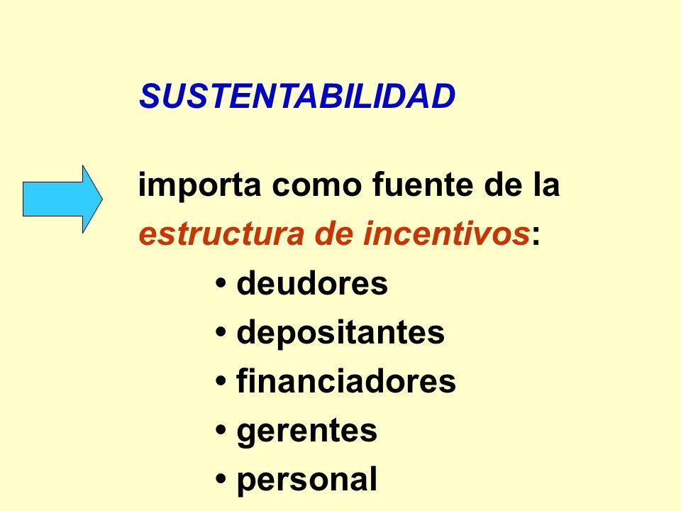SUSTENTABILIDAD importa como fuente de la estructura de incentivos: deudores depositantes financiadores gerentes personal