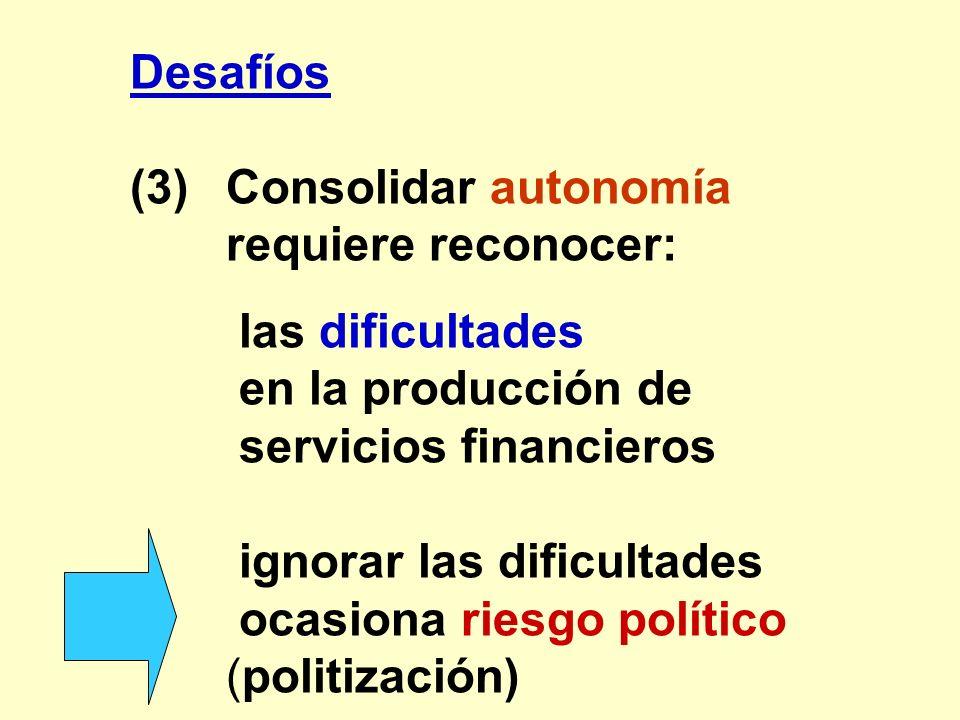 Desafíos (3)Consolidar autonomía requiere reconocer: las dificultades en la producción de servicios financieros ignorar las dificultades ocasiona ries