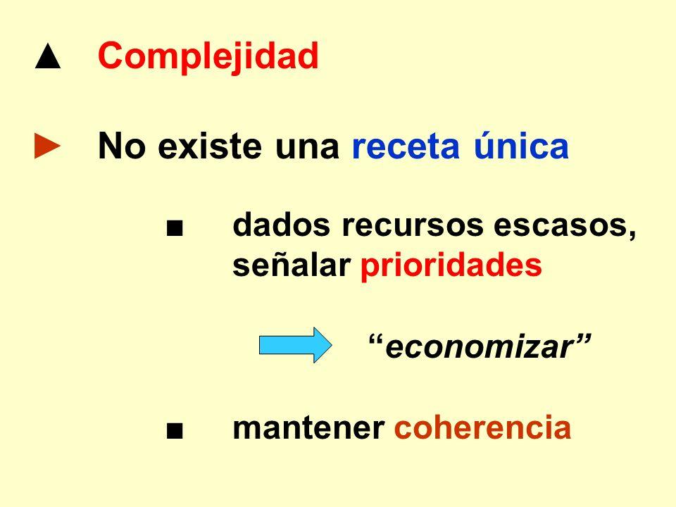 Complejidad No existe una receta única dados recursos escasos, señalar prioridades economizar mantener coherencia