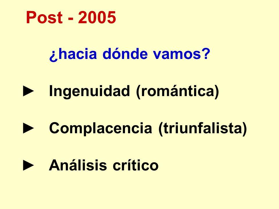 Post - 2005 ¿hacia dónde vamos? Ingenuidad (romántica) Complacencia (triunfalista) Análisis crítico