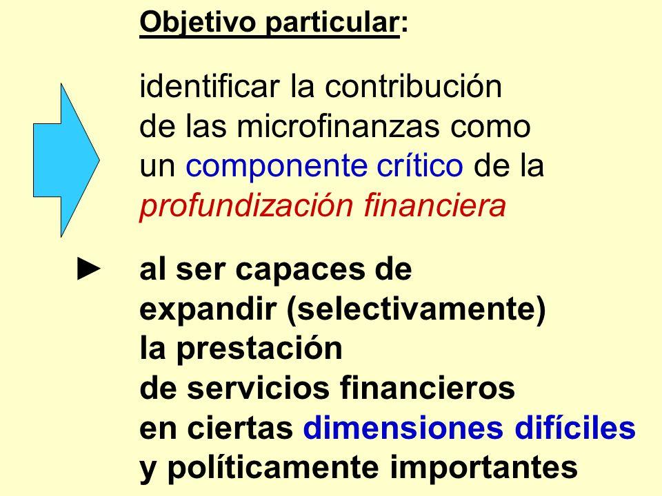 Objetivo particular: identificar la contribución de las microfinanzas como un componente crítico de la profundización financiera al ser capaces de exp