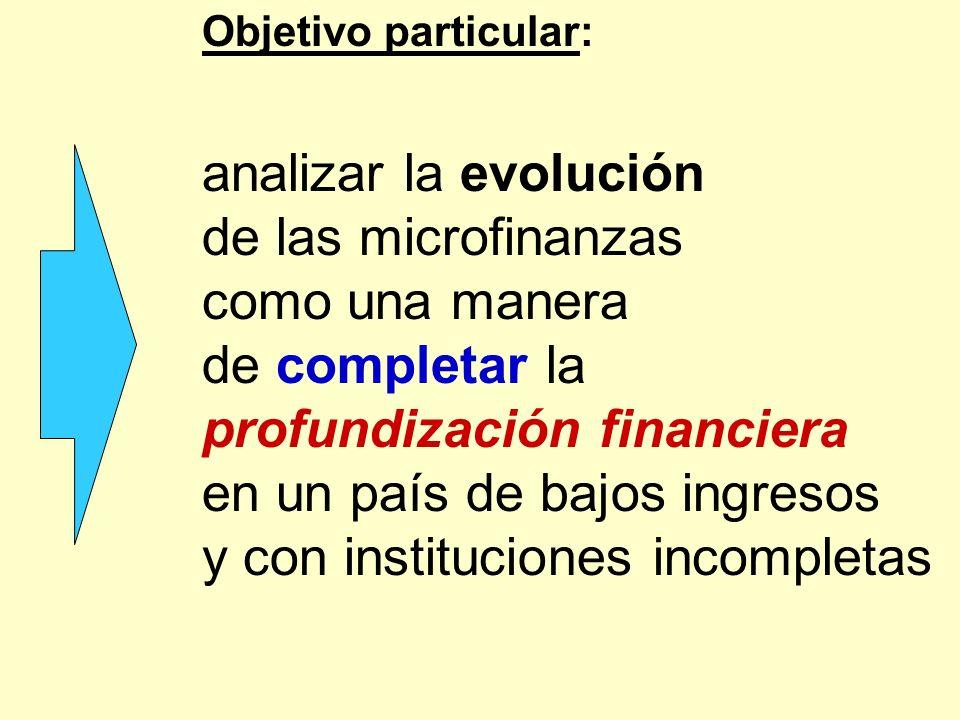 Objetivo particular: analizar la evolución de las microfinanzas como una manera de completar la profundización financiera en un país de bajos ingresos