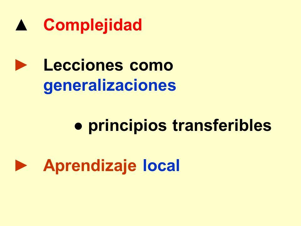 Complejidad Lecciones como generalizaciones principios transferibles Aprendizaje local
