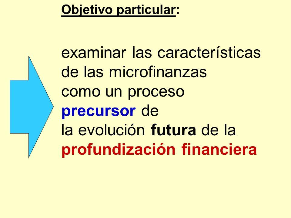 Objetivo particular: examinar las características de las microfinanzas como un proceso precursor de la evolución futura de la profundización financier