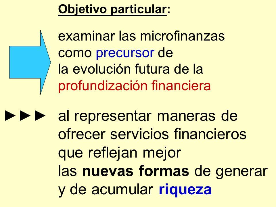Objetivo particular: examinar las microfinanzas como precursor de la evolución futura de la profundización financiera al representar maneras de ofrece