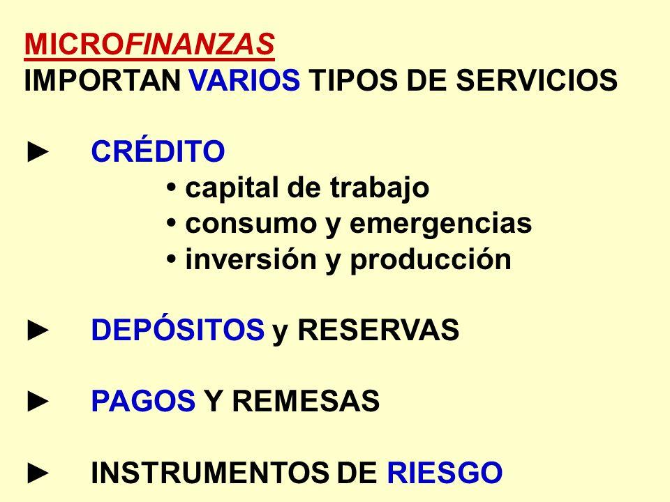 MICROFINANZAS IMPORTAN VARIOS TIPOS DE SERVICIOS CRÉDITO capital de trabajo consumo y emergencias inversión y producción DEPÓSITOS y RESERVAS PAGOS Y