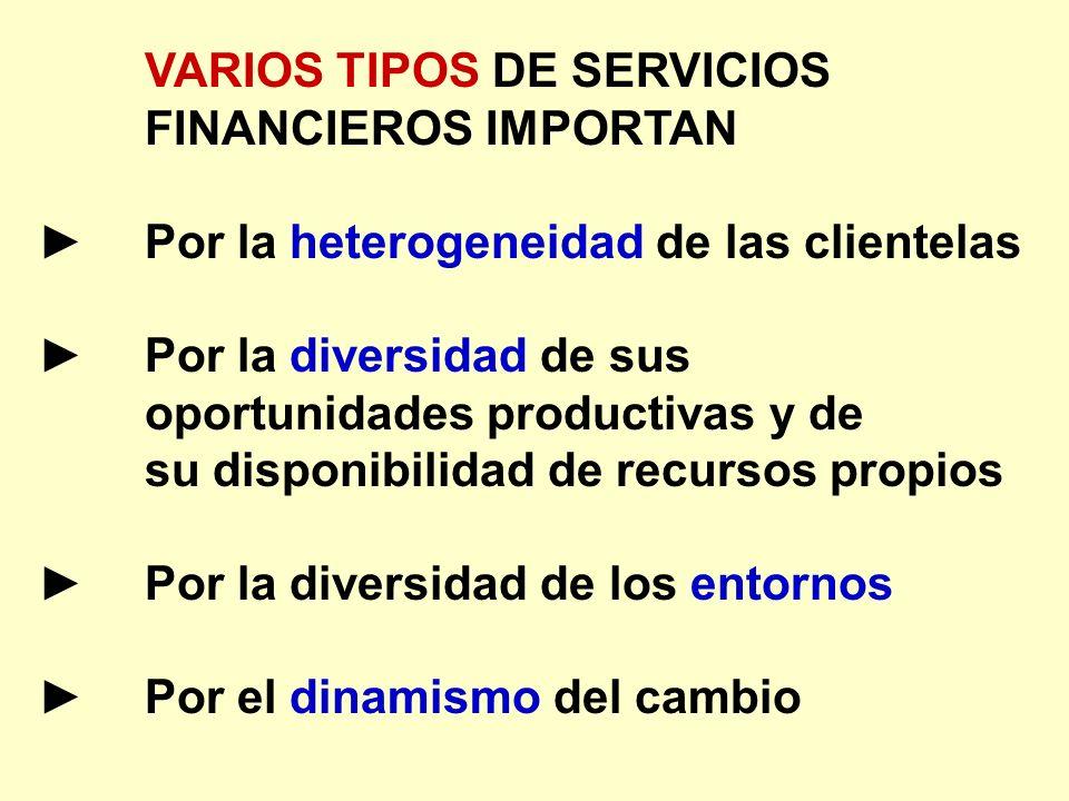VARIOS TIPOS DE SERVICIOS FINANCIEROS IMPORTAN Por la heterogeneidad de las clientelas Por la diversidad de sus oportunidades productivas y de su disp