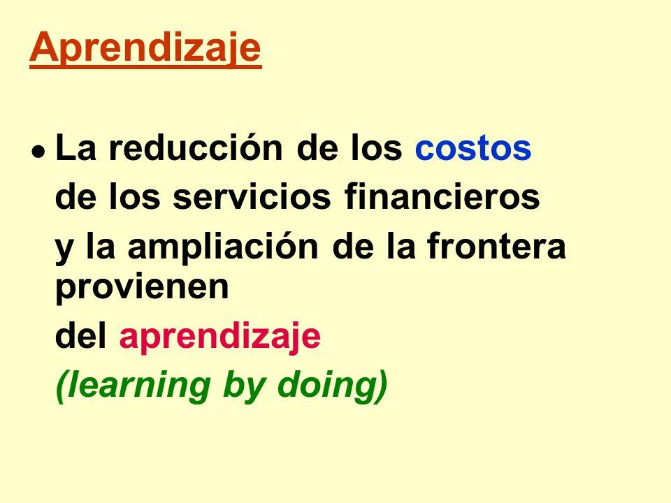 Aprendizaje La reducción de los costos de los servicios financieros y la ampliación de la frontera provienen del aprendizaje (learning by doing)