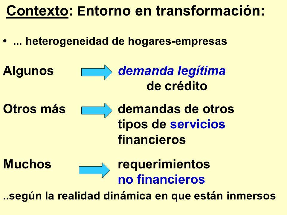 Contexto: E ntorno en transformación:... heterogeneidad de hogares-empresas Algunos demanda legítima de crédito Otros más demandas de otros tipos de s