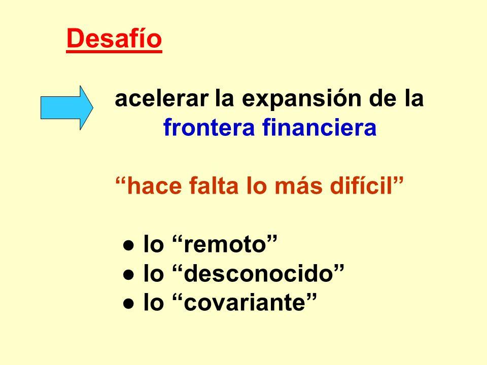 Desafío acelerar la expansión de la frontera financiera hace falta lo más difícil lo remoto lo desconocido lo covariante