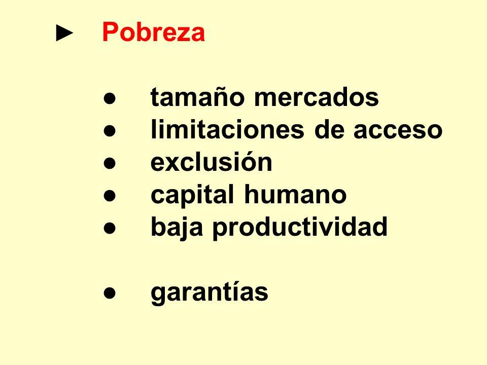 Pobreza tamaño mercados limitaciones de acceso exclusión capital humano baja productividad garantías
