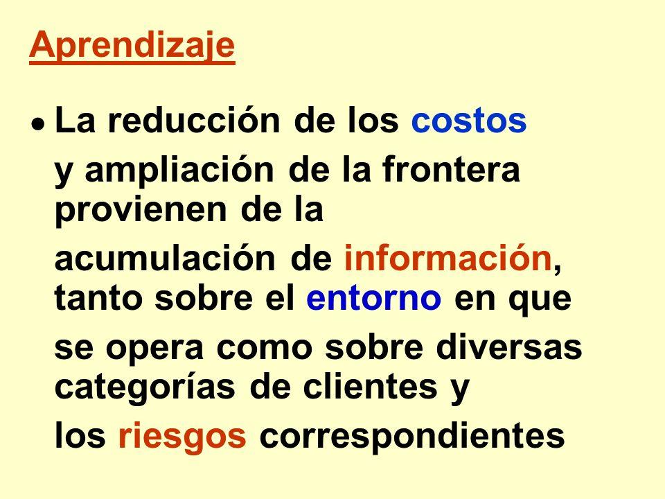 Aprendizaje La reducción de los costos y ampliación de la frontera provienen de la acumulación de información, tanto sobre el entorno en que se opera