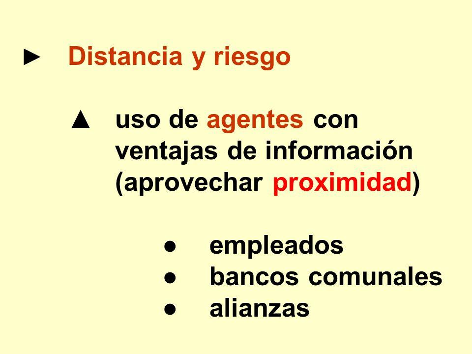 Distancia y riesgo uso de agentes con ventajas de información (aprovechar proximidad) empleados bancos comunales alianzas
