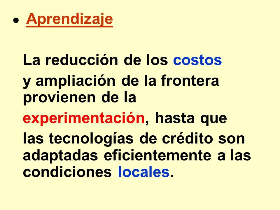 Aprendizaje La reducción de los costos y ampliación de la frontera provienen de la experimentación, hasta que las tecnologías de crédito son adaptadas