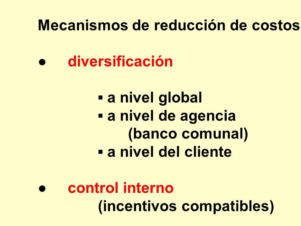 Mecanismos de reducción de costos: diversificación a nivel global a nivel de agencia (banco comunal) a nivel del cliente control interno (incentivos c