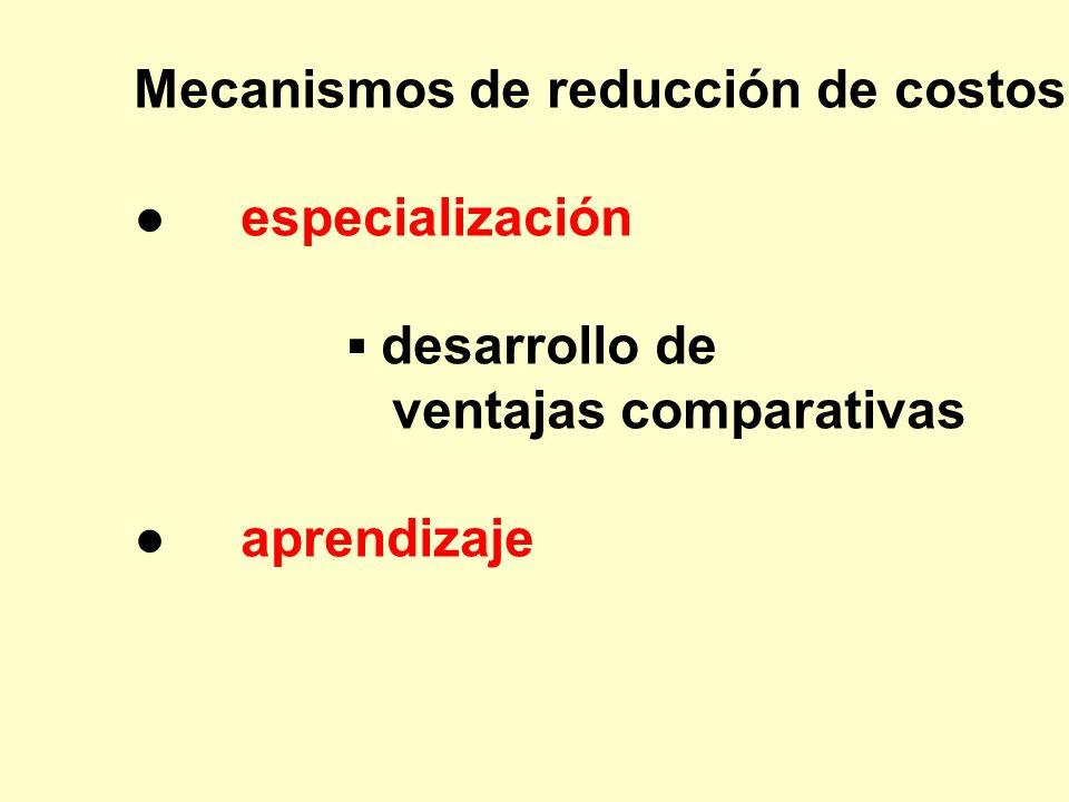 Mecanismos de reducción de costos: especialización desarrollo de ventajas comparativas aprendizaje