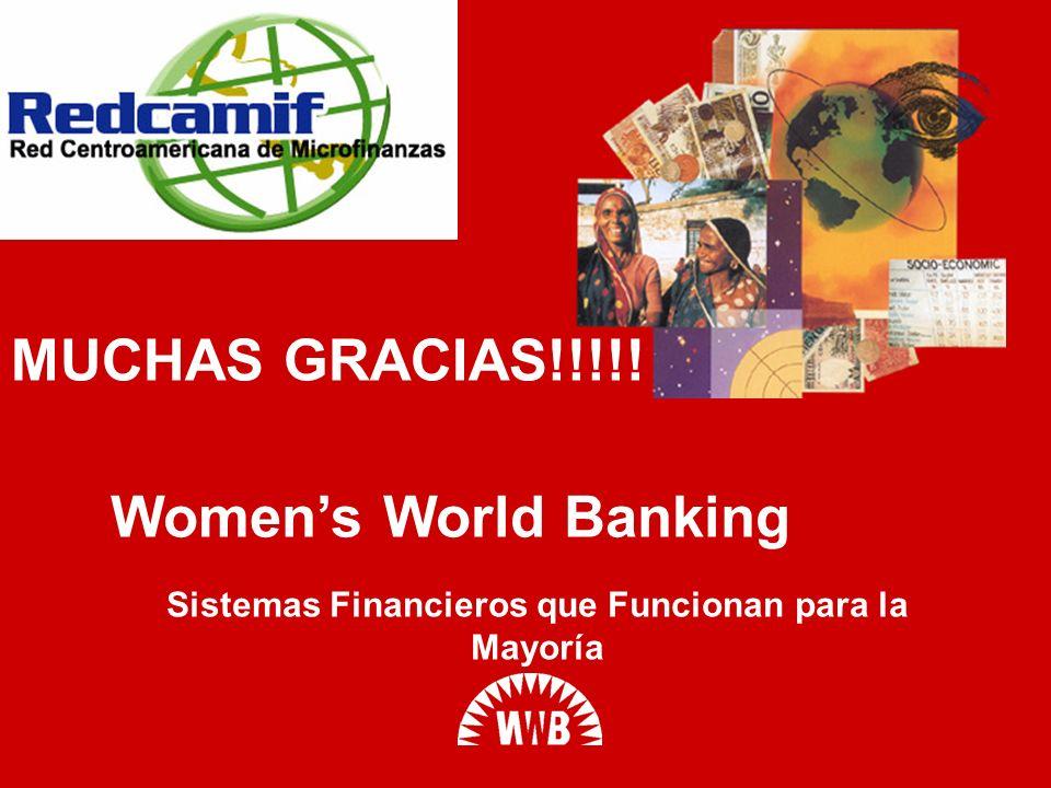 Womens World Banking Sistemas Financieros que Funcionan para la Mayoría MUCHAS GRACIAS!!!!!
