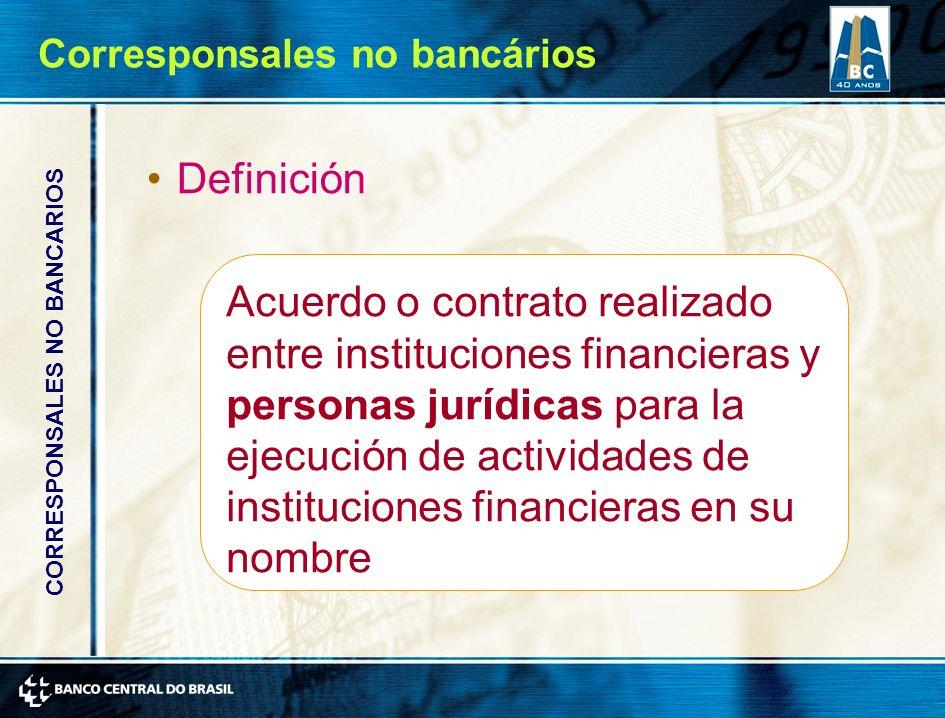 Definición Acuerdo o contrato realizado entre instituciones financieras y personas jurídicas para la ejecución de actividades de instituciones financieras en su nombre CORRESPONSALES NO BANCARIOS Corresponsales no bancários