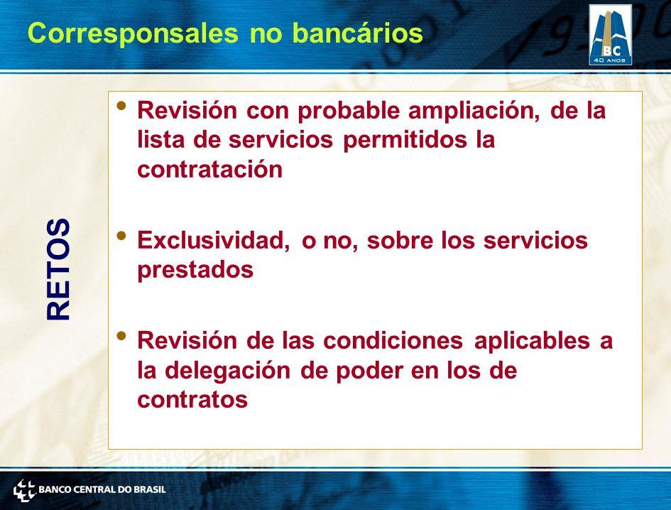 Revisión con probable ampliación, de la lista de servicios permitidos la contratación Exclusividad, o no, sobre los servicios prestados Revisión de las condiciones aplicables a la delegación de poder en los de contratos RETOS Corresponsales no bancários