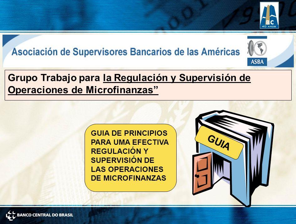 Grupo Trabajo para la Regulación y Supervisión de Operaciones de Microfinanzas GUIA DE PRINCIPIOS PARA UMA EFECTIVA REGULACIÓN Y SUPERVISIÓN DE LAS OPERACIONES DE MICROFINANZAS GUIA