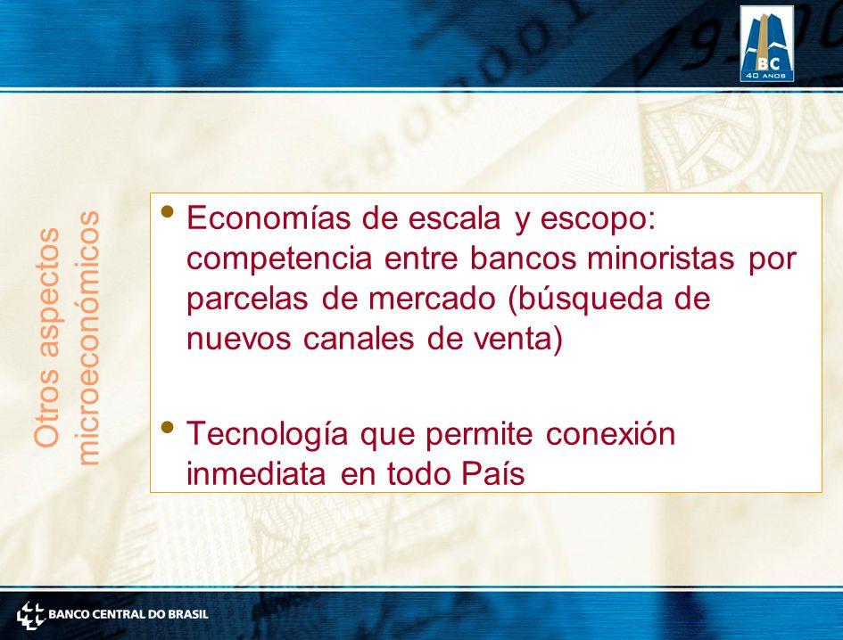 Economías de escala y escopo: competencia entre bancos minoristas por parcelas de mercado (búsqueda de nuevos canales de venta) Tecnología que permite conexión inmediata en todo País Otros aspectos microeconómicos