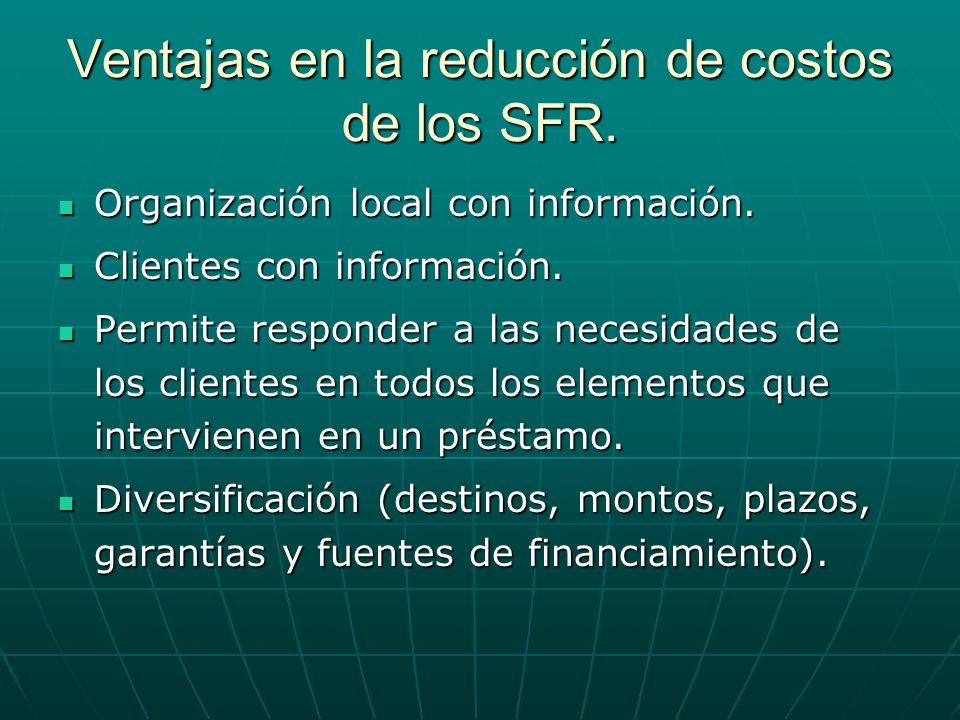 Ventajas en la reducción de costos de los SFR. Organización local con información. Organización local con información. Clientes con información. Clien