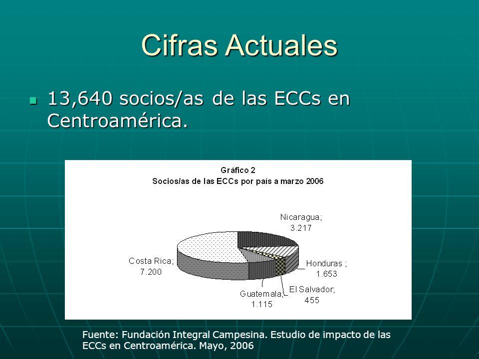 Cifras Actuales 13,640 socios/as de las ECCs en Centroamérica. 13,640 socios/as de las ECCs en Centroamérica. Fuente: Fundación Integral Campesina. Es